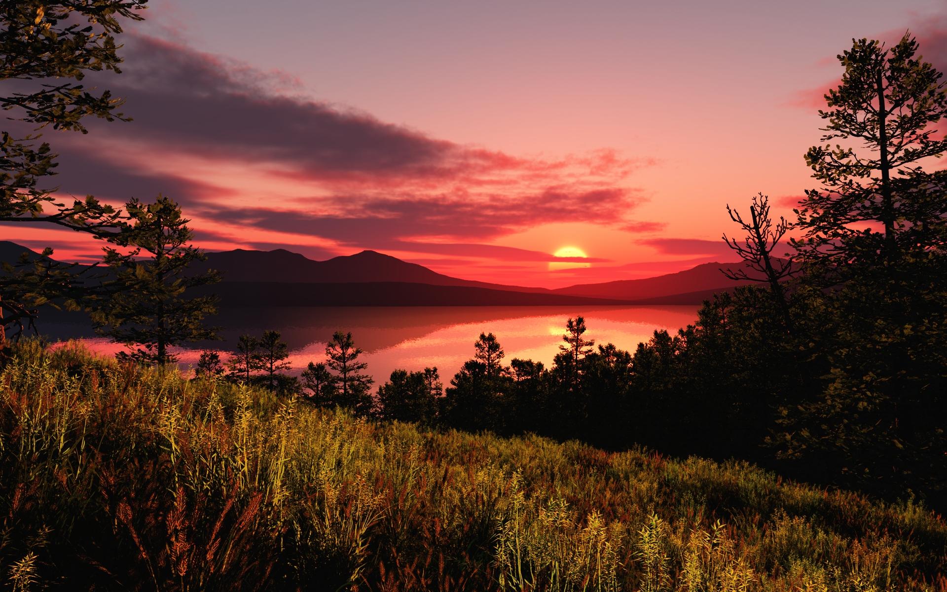 Лиственница горы, природа пейзаж, горы, красный, закат обои - 1920x1080 full hd добавлять digg