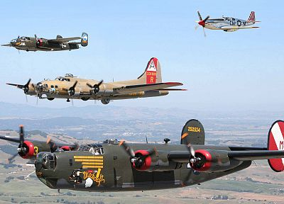 самолет, B- 17 Flying Fortress, B - 25 Mitchell, B - 24 Liberator, P - 51 Mustang - обои на рабочий стол