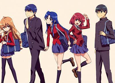 брюнетки, рыжеволосые, школьная форма, подол, Айсака Тайга, Китамура Yuusaku, Кусиэда Минори, очки, длинные волосы, синие волосы, Toradora, черные глаза, короткие волосы, бедра, Кавасима Ами, аниме парни, Такасу Ryuuji, фиолетовые глаза, аниме девушки, че - обои на рабочий стол