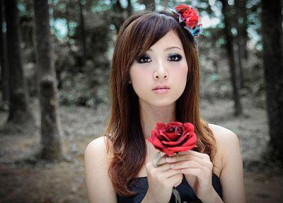 брюнетки, девушки, леса, Азиаты/Азиатки, аниме, розы, Микако Чжан Kaijie - обои на рабочий стол