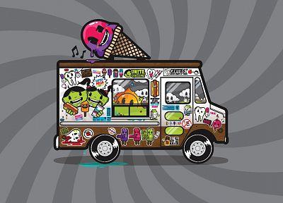 мороженое, грузовики, транспортные средства, фруктовое мороженое, JThree понятия, векторной графики, шаровой фон, Джаред Никерсон - случайные шпалеры с целью рабочего стола