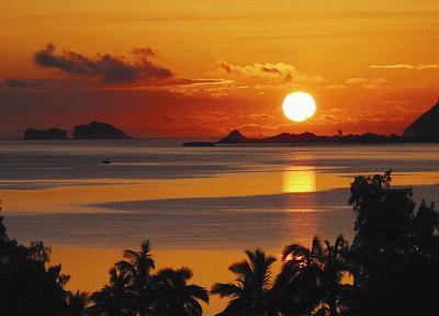 закат, океан, Солнце, тропический, море - новые обои для рабочего стола