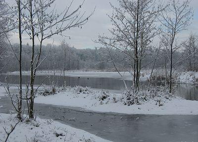 пейзажи, снег, деревья, реки - обои на рабочий стол