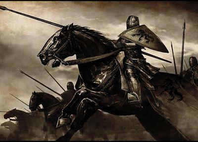 рыцари, лошади, Mount \u0026 стеклоочистителя, произведение искусства, средневековый, Swadia - новые обои для рабочего стола