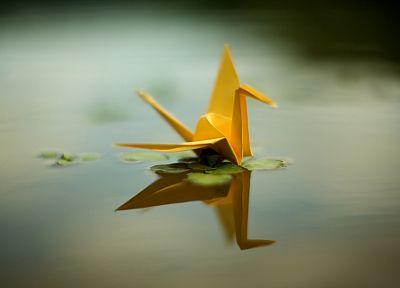 оригами, желтый цвет, пруды, сепия, краны - новые обои для рабочего стола
