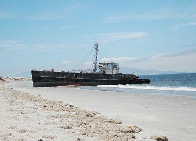 пустыня, корабли, затонувшие суда, транспортные средства, море - обои на рабочий стол