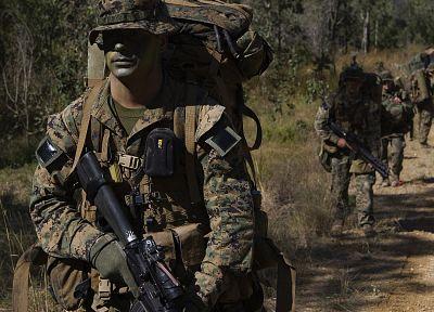 солдаты, военный, США морской пехоты, M16A4 - обои на рабочий стол