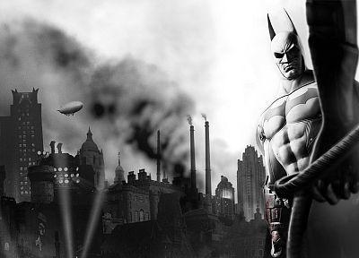 Бэтмен, видеоигры, монохромный, Arkham City, Batman Arkham City - обои на рабочий стол