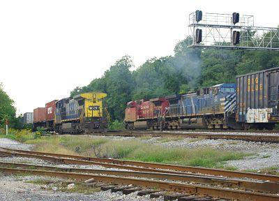 поезда, железнодорожные пути, транспортные средства - обои на рабочий стол