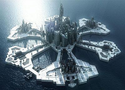океан, футуристический, Звездные врата: Атлантида, Звездные врата, здания, острова, научная фантастика, ТВ-шоу - обои на рабочий стол