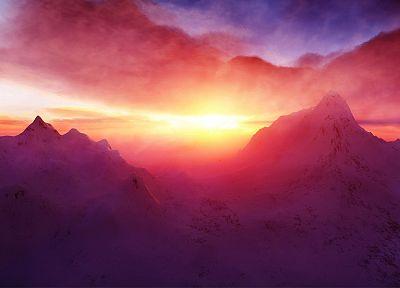 горы, облака, пейзажи, природа, солнечный свет, небо - обои на рабочий стол