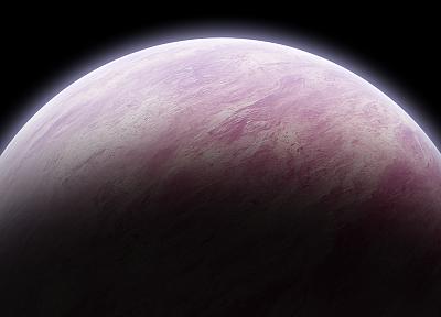 космическое пространство, розовый цвет, планеты - обои на рабочий стол