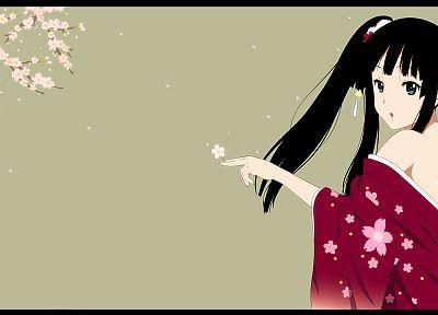 K-ON! (Кэйон!), цветы, Акияма Мио, японская одежда, простой фон, аниме девушки - обои на рабочий стол