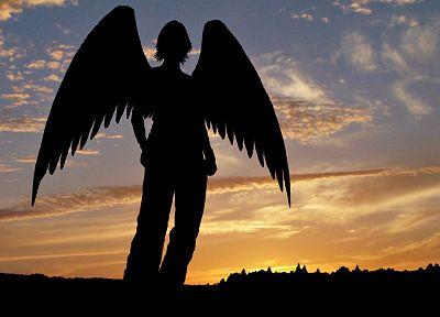 ангелы, облака, черный цвет, небо - новые обои для рабочего стола