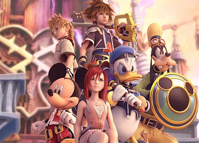 видеоигры, Kingdom Hearts, Disney Company, Сора ( Kingdom Hearts ), Кайри, тупой, Микки Маус, Дональд Дак, Рохас - похожие обои для рабочего стола