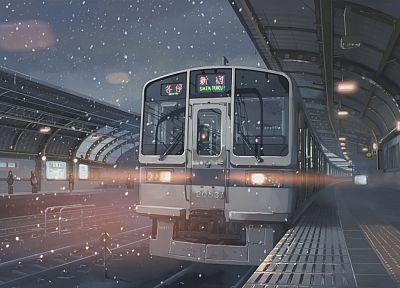 снег, поезда, Макото Синкай, вокзалы, Синдзюку, 5 сантиметров в секунду, произведение искусства, транспортные средства, подробный - обои на рабочий стол