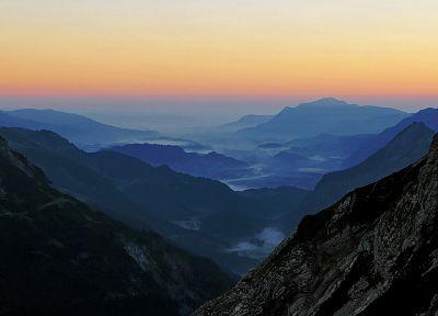горы, пейзажи, туман - обои на рабочий стол