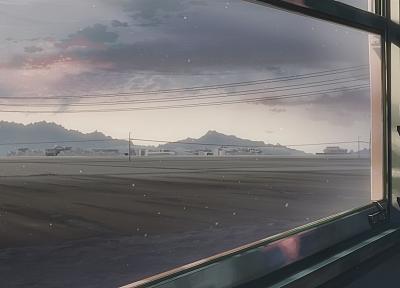поезда, Макото Синкай, 5 сантиметров в секунду, произведение искусства, транспортные средства, аниме, оконные стекла - обои на рабочий стол