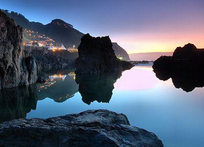 закат, пейзажи, природа, побережье, скалы, скалы, сумерки - обои на рабочий стол