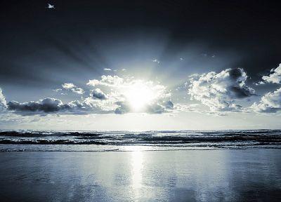 облака, солнечный свет, море, пляжи - обои на рабочий стол