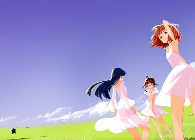 платье, рыжеволосые, трава, ветер, поля, очки, длинные волосы, на открытом воздухе, Kisaragi Chihaya, телок, фиолетовые волосы, косички, meganekko, аниме, волосы ленты, оранжевые глаза, оранжевые волосы, аниме девушки, Амами Харука, Акизуки Рицко, Idolmas - обои на рабочий стол
