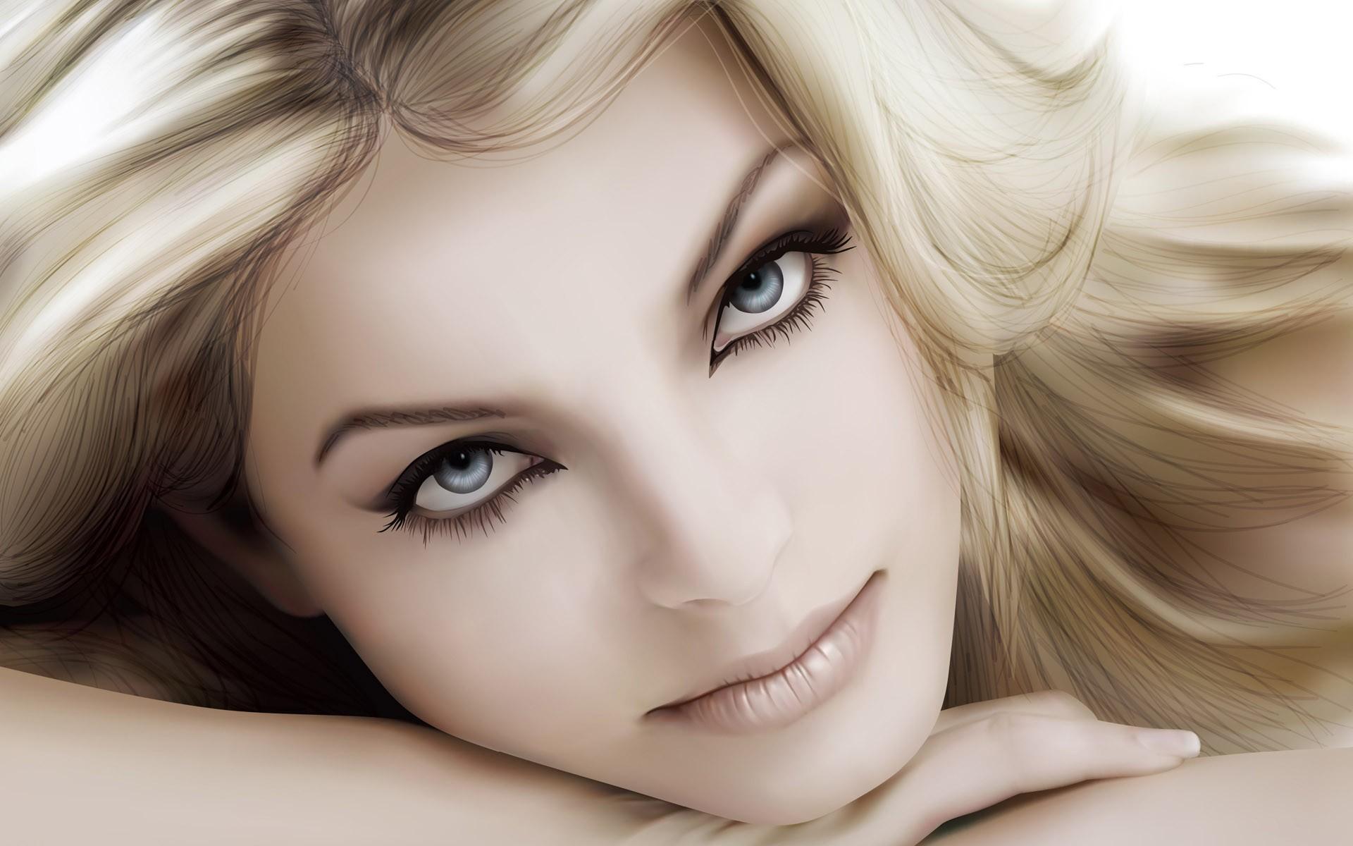 Блондинка с большими глазами кунилингус чулках
