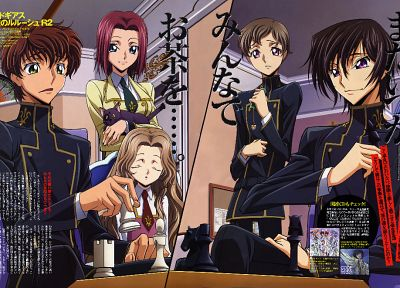 Code Geass (Код Гиас), Kururugi Сузаку, Stadtfeld Kallen, Lamperouge Наннолли, Lamperouge Лелуш, Lamperouge Роло - обои на рабочий стол